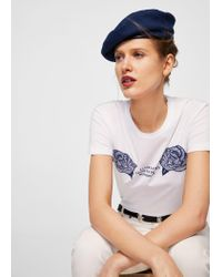 Mango - White Embroidered Flowers T-shirt - Lyst