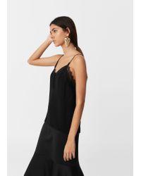 Mango | Black Lace Appliqué Top | Lyst