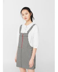 Mango | Black Two-tone Printed Pinafore Dress | Lyst