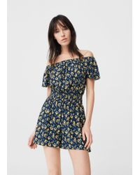 Mango | Yellow Printed Short Jumpsuit | Lyst
