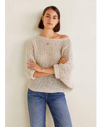 Mango - Gray Open-knit Sweater - Lyst