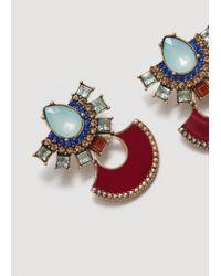 Mango - Metallic Crystal Pendant Earrings - Lyst
