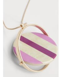 Violeta by Mango | Pink Metal Pendant Necklace | Lyst