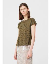 Mango | Green Printed Cotton T-shirt | Lyst