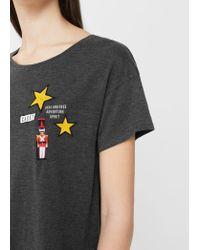 Mango - Gray Decorative Patches T-shirt - Lyst