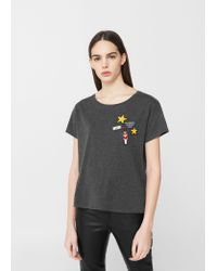 Mango | Gray Decorative Patches T-shirt | Lyst