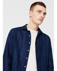 Mango | Blue Slim-fit Check Linen Shirt for Men | Lyst