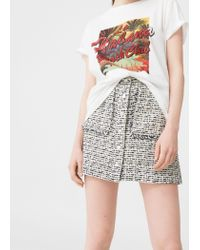Mango | White Message Cotton-blend T-shirt | Lyst