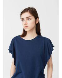 Mango | Blue Ruffled Sleeve T-shirt | Lyst