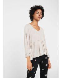 Mango | Gray Flecked Peplum T-shirt | Lyst