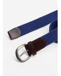 Mango - Blue Leather-appliqué Braided Belt - Lyst