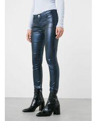 Mango   Blue Metallic-effect Skinny Gloss Jeans   Lyst