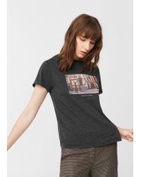 Mango   Gray Printed Cotton T-shirt   Lyst