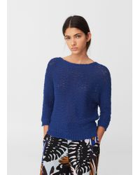 Mango | Blue Openwork Knit Sweater | Lyst