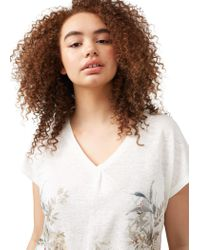 Violeta by Mango | White Printed Linen-blend T-shirt | Lyst