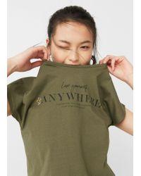 Mango | Green Bead Detail T-shirt | Lyst