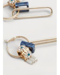 Violeta by Mango | Metallic Intertwined Hoop Earrings | Lyst
