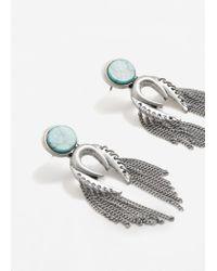 Mango - Metallic Chain Earrings - Lyst