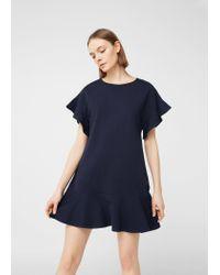 Mango | Blue Fluted Hem Dress | Lyst
