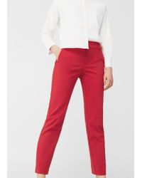 Mango | Red Straight-cut Crop Trousers | Lyst