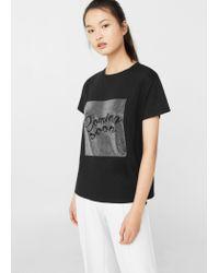 Mango | Black Rhinestone Print T-shirt | Lyst