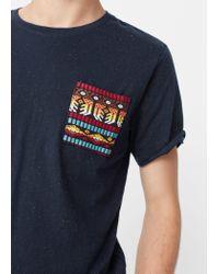 Mango - Blue Contrast Chest-pocket T-shirt for Men - Lyst
