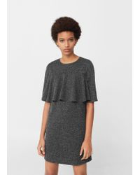 Mango | Black Textured Ruffled Dress | Lyst