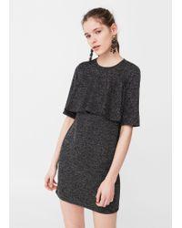 Mango   Gray Textured Ruffled Dress   Lyst