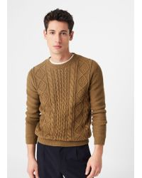 Mango | Natural Cable-knit Cotton Sweater for Men | Lyst