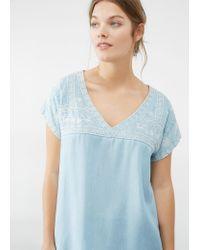 Violeta by Mango | Blue Decorative Embroidery Blouse | Lyst