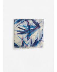 Mango | Blue Leave Pattern Scarf | Lyst
