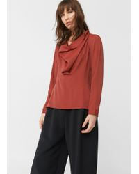 Mango | Red Waterfall Neck Blouse | Lyst