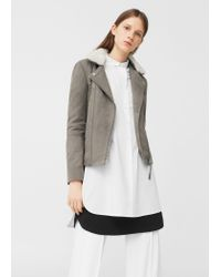 Mango | Gray Aviator Leather Jacket | Lyst