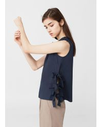 Mango | Blue Bow Cotton Blouse | Lyst