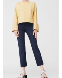 Mango | Blue Straight Cotton Trousers | Lyst