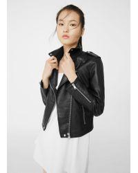 Mango | Black Zipped Biker Jacket | Lyst