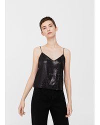 Mango - Black Sequin Embroidery Top - Lyst