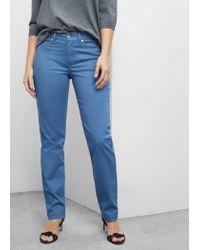 Violeta by Mango | Blue Cotton Modal Trousers | Lyst