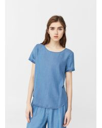 Mango | Blue Soft Fabric Blouse | Lyst