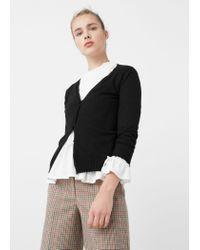 Mango | Black Ribbed Cotton Cardigan | Lyst