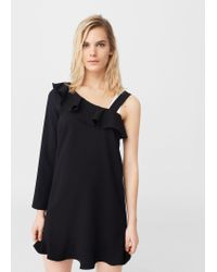 Mango | Black Asymmetric Neckline Dress | Lyst