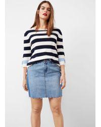 Violeta by Mango   Blue Contrast Denim Skirt   Lyst