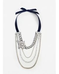Mango | Metallic Bow Chains Necklace | Lyst