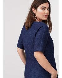 Violeta by Mango - Blue Textured Cotton Dress - Lyst