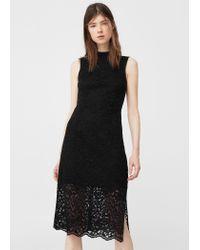 Mango | Black Cut-out Guipure Dress | Lyst