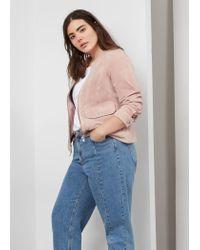 Violeta by Mango | Pink Pocket Suede Jacket | Lyst