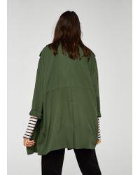 Mango - Green Flowy Lapelled Jacket - Lyst