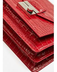 Mango - Red Croc-effect Cross Body Bag - Lyst