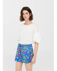 Mango - Blue Printed Flowy Shorts - Lyst