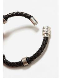 Mango - Black Metal Hook Leather Bracelet - Lyst